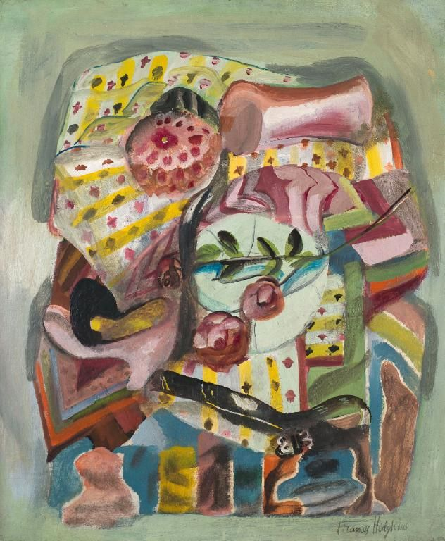 Frances Hodgkins (NZ 1869–1947), Self portrait: still life, o/cardboard, ca 1935. In later life Hodgkins felt uncomfortable being photographed, partly because she was an older woman in a young Modernist market. Never painting a traditional self-portrait, she created highly individual, semi-abstracted groups of favorite objects: scarves, shoes, jewelry and flowers, providing what today seems like a Post-modern metaphor for the self. This strategy of self-depiction was unusual for the period.