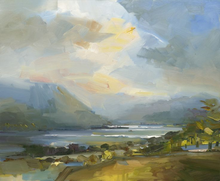 David Atkins Just After Rain, Ullswater Oil on Panel 80 x 96 cm  #Art #Paintings #Landscape