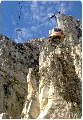 Palm Springs Tram. The temperature at the top in Mt. San Jacinto State Park, is 30 degrees different than at the desert bottom. Mt. San Jacinto State Park offers 54 miles of hiking trails located within a 14,000 acre pristine wilderness. You can't tell from this picture but it's forest at the top and desert on the bottom!