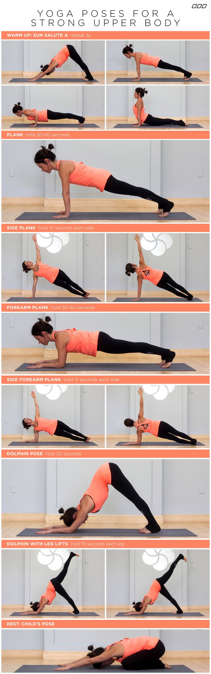 Nice core sequence for yoga warm-up. Planks, forearm planks, and dolphin pose. yoga-poses-for-a-strong-upper-body
