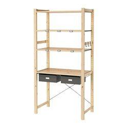 IKEA - IVAR, 1 section/tablettes/tiroirs, Bois massif brut, un matériau naturel et solide à cirer ou huiler pour accroître sa résistance et faciliter son nettoyage.Vous pouvez déplacer les tablettes et les positionner selon vos besoins.Personnalisez votre meuble en le peignant avec votre couleur préférée.Le pin massif est un matériau naturel qui embellit et acquière un caractère unique avec le temps.