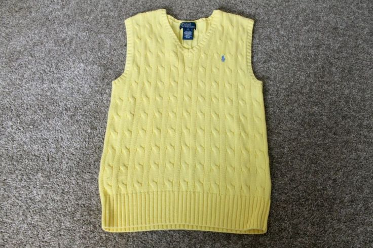 Polo Ralph Lauren Boys Yellow V Neck Cable Knit Sweater ...