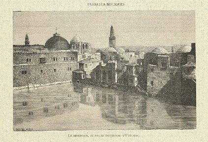 """""""Le Reservoir, ou Piscine Inferieure D'E'zechias""""  Wood engraving after de Bar, 1882."""