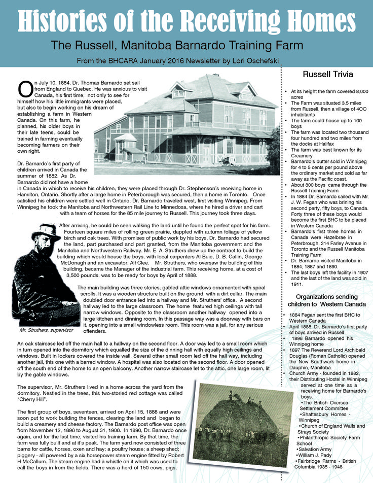 Barnardo's Russell, Manitoba TrainingFarm - The Receiving Homes of the British Home Children Part 1
