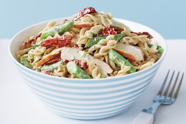 Lift your pasta from simple to spectacular with a light basil pesto and sour cream sauce.