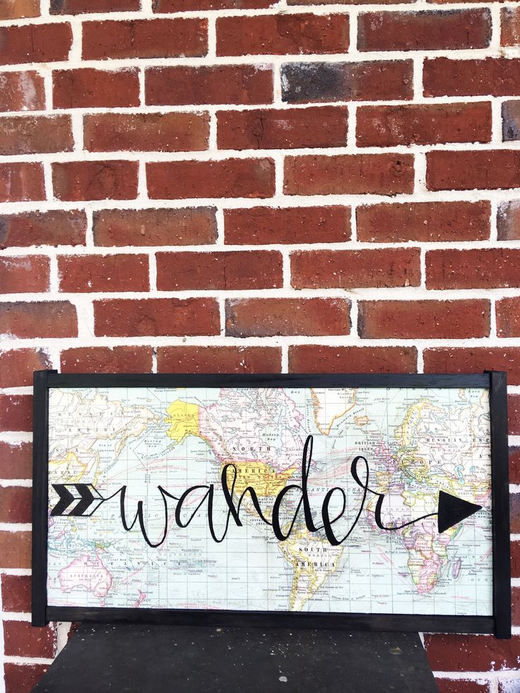 "26 inch X 14 inch Wood Sign with Map overlay and ""wander"" hand painted"