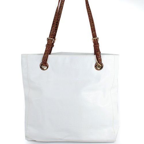 """Perfect for summer!!! $39.99Amazon.com: """" Mk Designer Inspired"""" Fashion Exotic Jet Set Travel Tote Simple Color Solid Faux Leather Shoulder Shopper Handbag Purse """" Michael Kors Similar Style"""" in White and Snake: Clothing"""