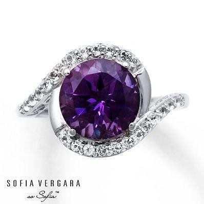 Sofia Vergara Ring Amethyst White Topaz Sterling Silver