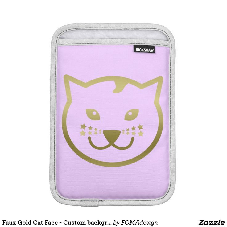 Faux Gold Cat Face and Stars - Custom background color / iPad Mini Sleeve, slim and super protective! #fomadesign