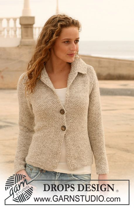 2-Button Jacket w. Collar in Seed Stitch   <   Free DROPS pattern   /   NM