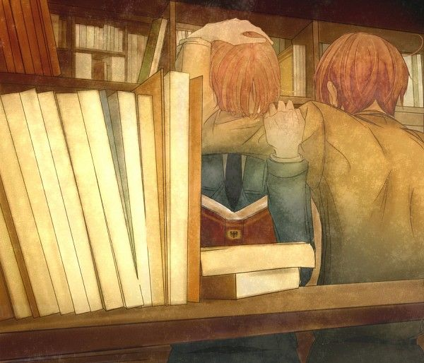 Italy brothers (Hetalia) Feliciano is crying about Holy Roman Empire...look at the book more closely...the mark...