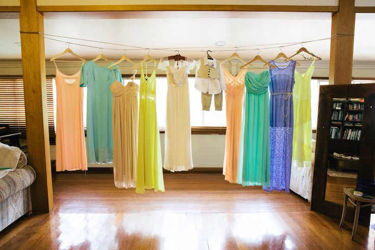 Pastel maxi bridesmaids dresses