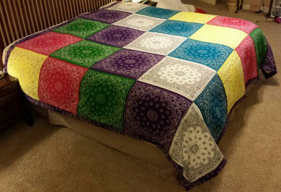 King size one of a kind BANDANA BLANKET by BeckysBandanaBlanket