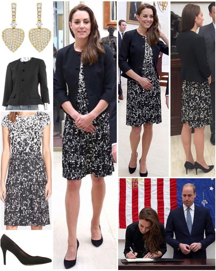 The Duke and Duchess visited the US Embassy in London yesterday to sign the condolence book, paying tribute to the victims of the Orlando massacre. Kate was seen back in her black Ralph Lauren jacket, owned since before marriage and worn four times in total, most memorably the day she went on her honeymoon. She wore a new dress, the 'Sophia Print A-Line Dress' by Tory Burch, which is sold out at the moment. Kate also wore her trusty Stuart Weitzman 'Power' pumps and Kiki McDonough 'Lauren'…