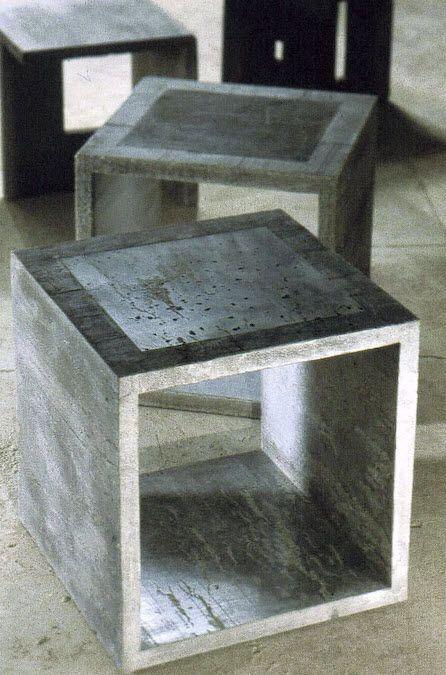 Francesco Passaniti: Contemporary concrete stool  ELEMENT--using Ductal light weight concrete