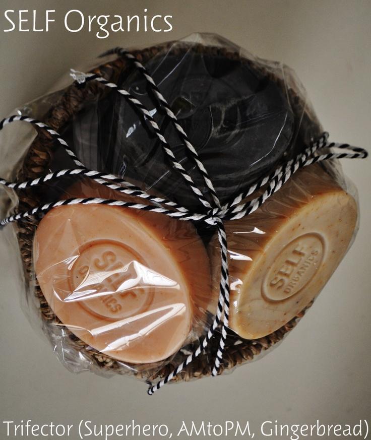 SELF Organics   Trifector Hamper: 3 of the top favourite artisan, handmade & organic soaps.  Superhero: charcoal, tea tree & peppermint  AM to PM: Grapefruit and Mandarin  Gingerbread: Cinnamon, Clove, Ginger