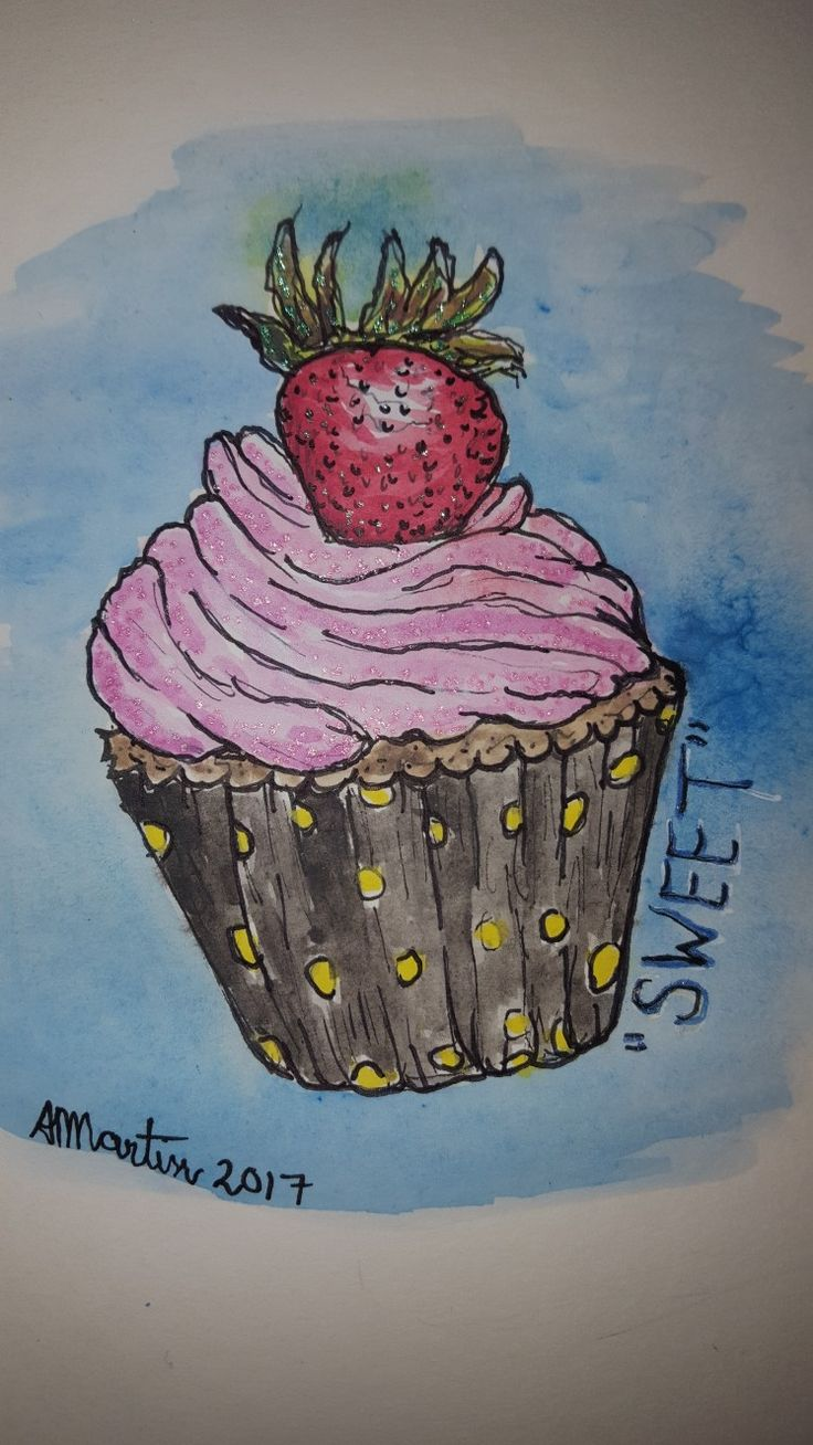 """#OpusDailyPractice word Promt """"Sweet"""" I painted a very sweet sugared tasty cupcake with a strawberry, using Inktense Blocks and GellyRoll Shimmer Pens."""
