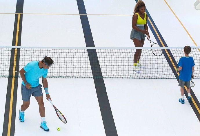 Nadal e Serena Willians Tênis Piscina (Foto: Agência AP )
