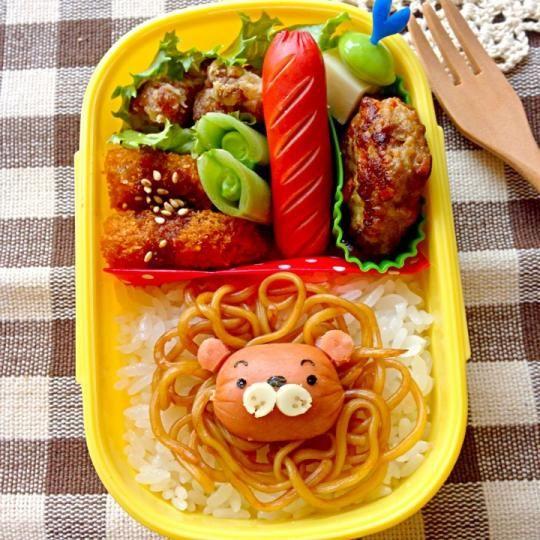 日本人のごはん/お弁当 Japanese meals/Bento モジャそばライオン弁当 Lion bento