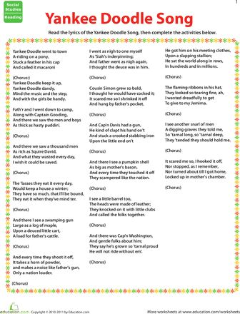 Worksheets: Yankee Doodle Dandy Song and Activities to illustrate lyrics