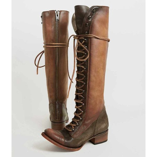 Freebird By Steven Arlo Boot - Brown US 10 ($320) ❤ liked on Polyvore featuring shoes, boots, brown, shearling-lined leather boots, real leather boots, tall boots, brown leather boots and tall brown boots