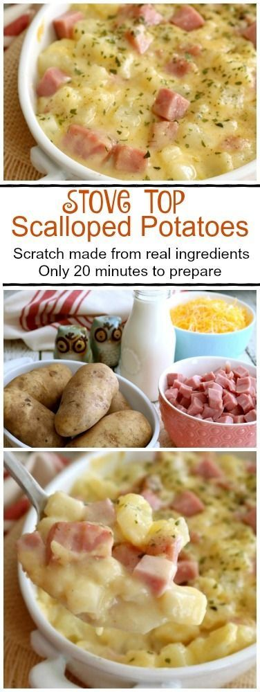 Stove Top Scalloped Potatoes taste just like the layered version but cook in half the time of the original with none of the fussy preparation. This is a great dish for busy families. http://kitchendreaming.com/stove-top-scalloped-potatoes-with-ham/