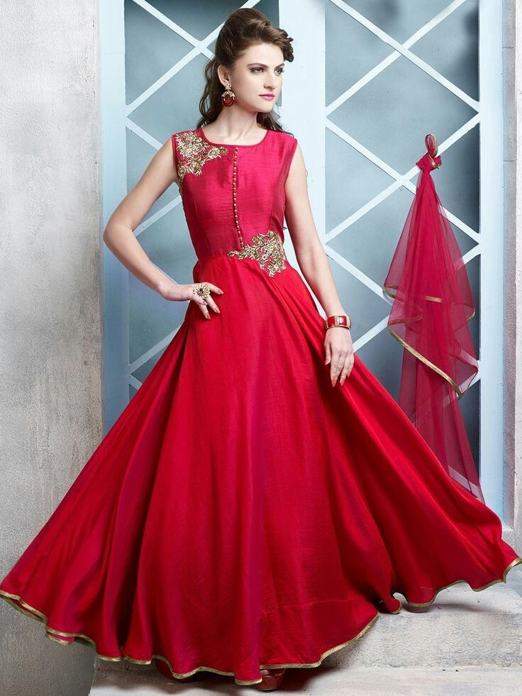 Long Designer Gown With Beautiful Red Dupatta Party
