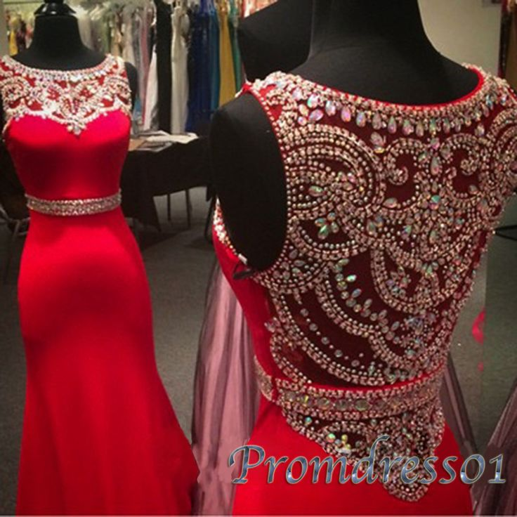 Long prom dress, ball gown, beautiul red chiffon modest prom dress with sequins