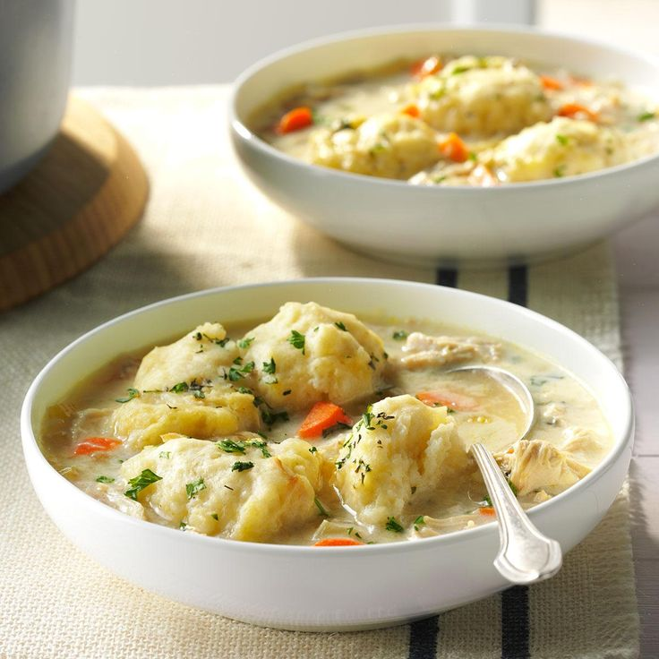 The Best Chicken & Dumplings Recipe -Chicken and dumplings harken back to my childhood and nippy days when we devoured those cute little balls of dough swimming in hot, rich broth. —Erika Monroe-Williams, Scottsdale, AZ