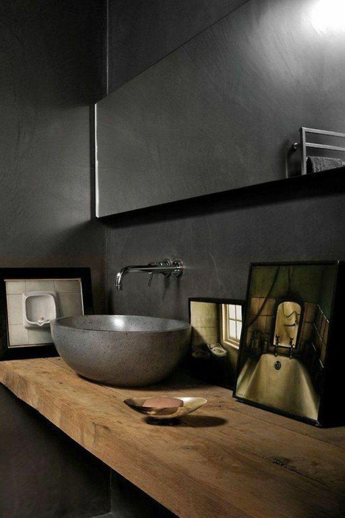 Poliertes Stein Waschbecken Auf Einem Rauen Holzregal Badezimmer Schwarz Rustikale Bad Eitelkeiten Modernes Badezimmerdesign