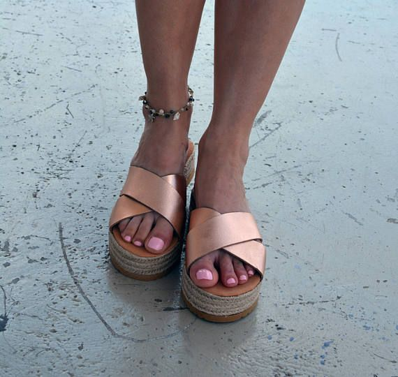 Gold Espadrilles, Gold Platform Sandals, Leather Slide Sandals, Rose Gold Sandals, Greek leather sandals,  Criss cross sandals ''Sparta''