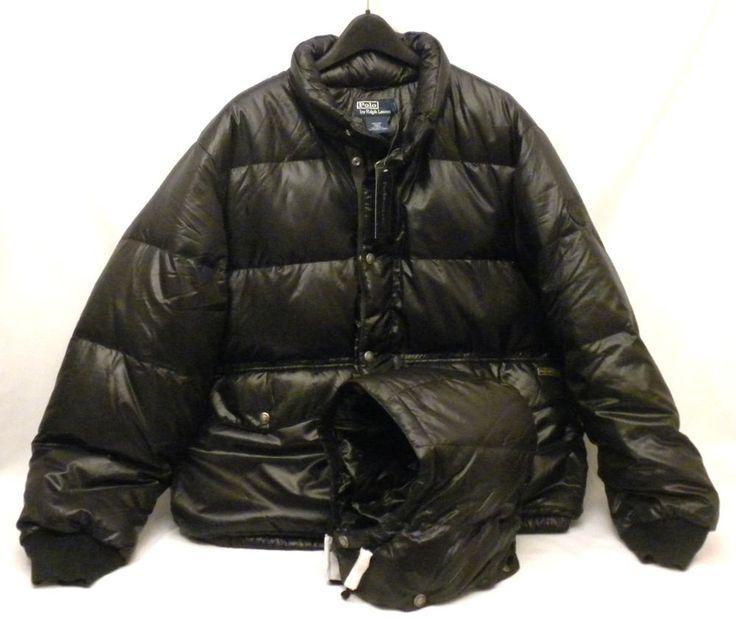 NWT Ralph Lauren Polo Puffer Down Drawstring Hooded Black Nylon Ski Snow Coat Men\u0026#39;s XL #