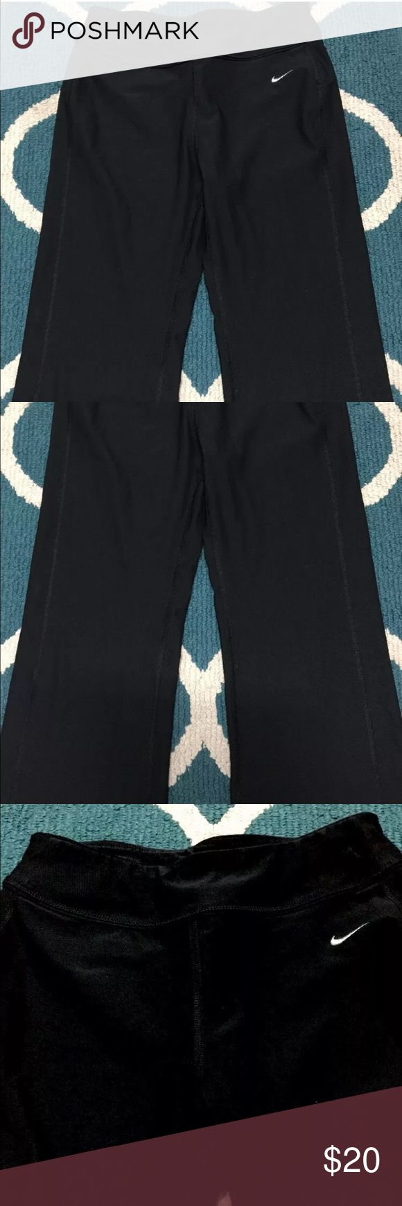 """Nike Yoga Pants Cropped Black Size Small Fit Dry Nike Women's Yoga Pants Cropped Stretch Black Size Small Fit Dry  Measurements: Waist: up to 32"""" Inseam : 23"""" Rise : 9.5""""  From a smoke free pet free home   Great preowned condition nicely used cleaned Nike Pants Ankle & Cropped"""