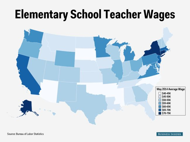 elementary school teacher salaries map... Apparently I need to move to Alaska or New York...