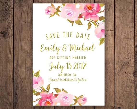 Wedding announcement, Custom template, Personalized, SAVE THE DATE, Watercolor boho roses, Cute, Save the date bohemian, Wedding card, Gold