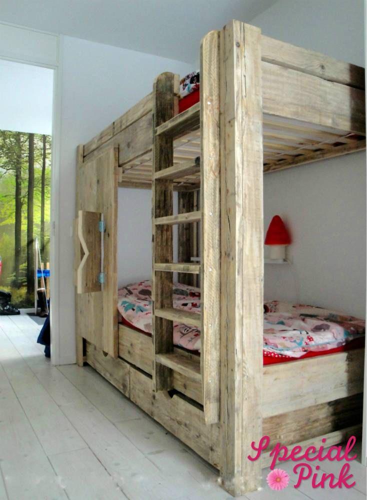 Stapelbed Sylvie van steigerhout  Childrens BedsCaseMushroomVery