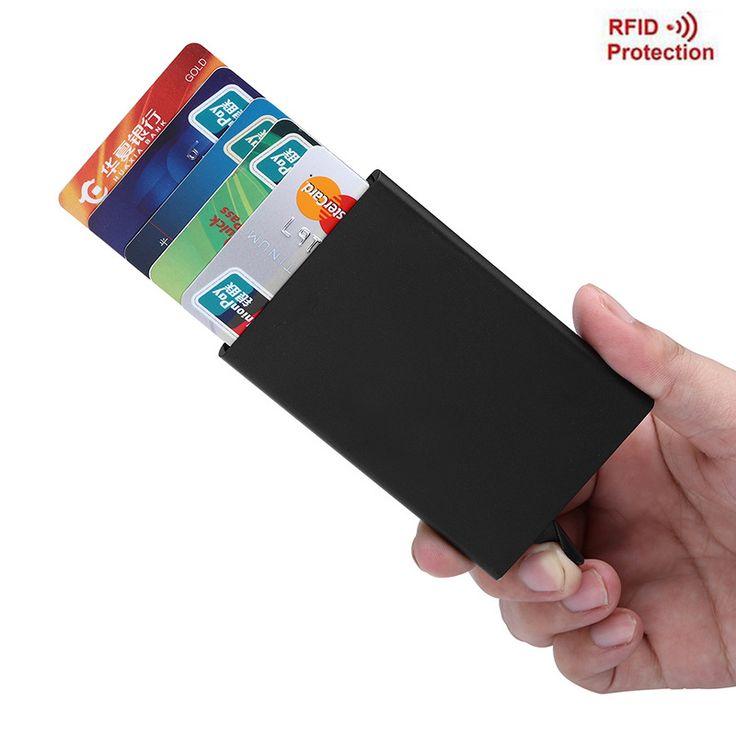 Aolen Automatyczne Posiadacz Karty Rfid Portfel Ze Stopu Aluminium Magia Pop Up Aluminium Portfel Biznesu Posiadacz Karty ID Karty Protector