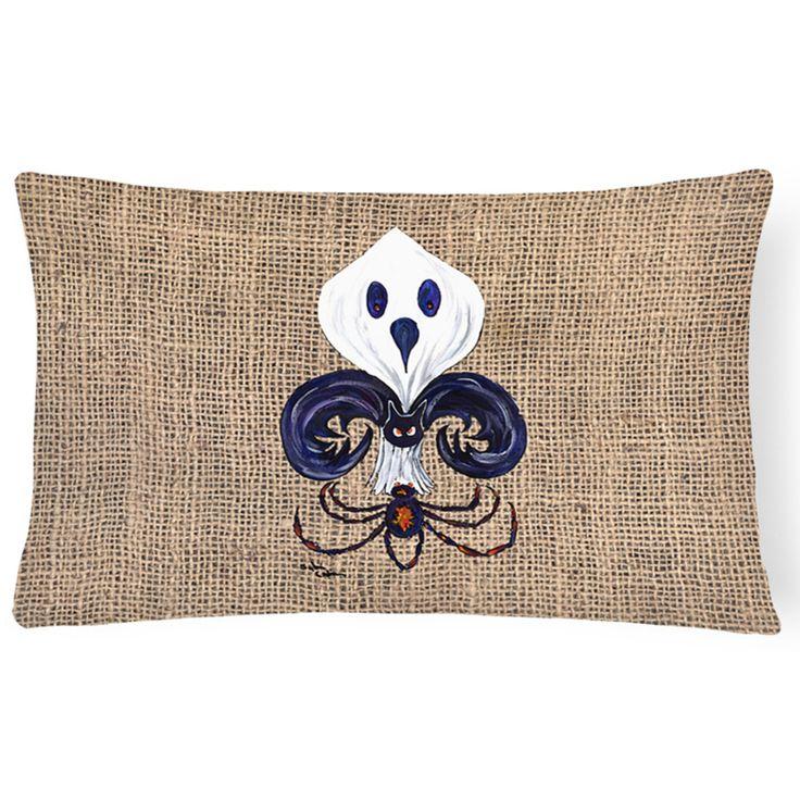 Carolines Treasures Halloween Ghost Spider Bat Fleur De Lis Rectangular Outdoor Pillow - 8749PW1216