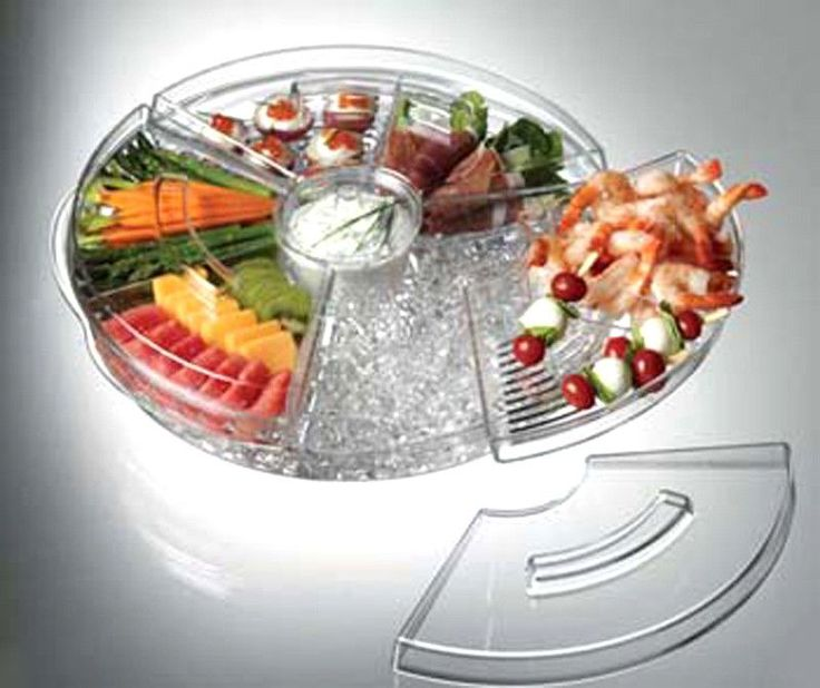 Prodyne AB5L Acrylic Tray Appetizers on Ice with Lids Keeps