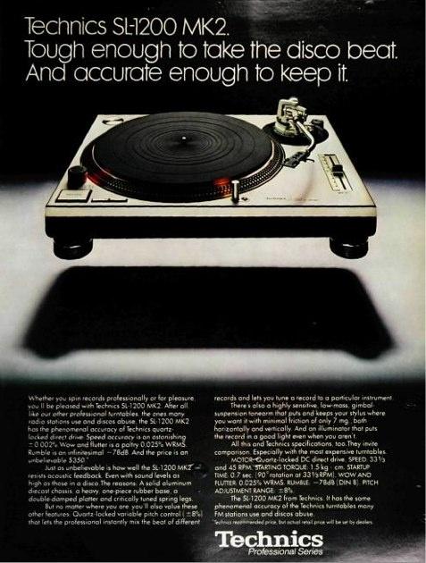 House music essentials: Vintage Technics SL-1200 ad from Billboard