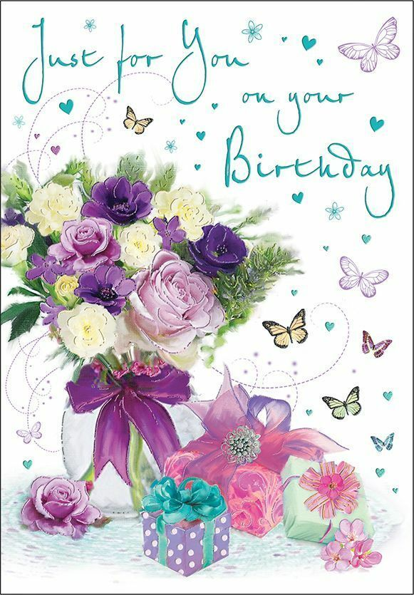 Details About Birthday Card Female Just For You Flowers