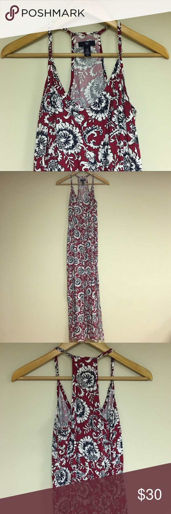 GAP Nautical Maxi Dress This red, white, and blue maxi dress is perfect for a hot summers night! There are slits on either side that is super flattering! GAP Dresses Maxi