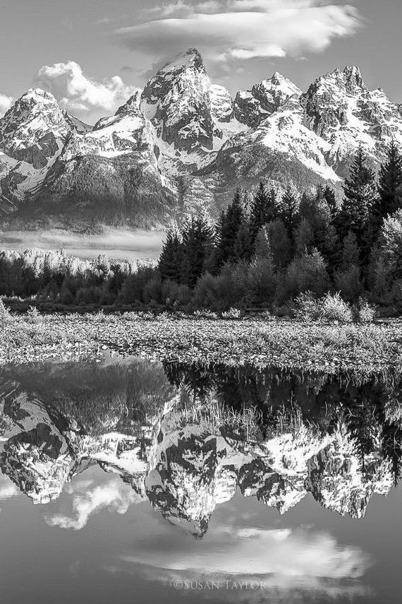 Large Nature Black And White Photo Grand Teton Canvas National Park Snake River Print Mountain Light Wild Wyoming Canvas Gallery Wrap With Images Black And White Landscape Landscape Photography Tips Landscape