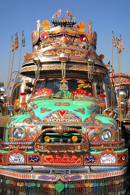 The most beautiful, eye-popping road monsters in the world, an explosive, psychedelic, pop, opulent and unique expression of Pakistani folk art... Complete with birds, fish and other animal decorations galore...