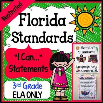 "LAFS - 3rd Grade - Save a ton of time by buying our FULL PAGE SIZE pre-made Florida Standards Illustrated ""I Can"" Statements for Language Arts.  3rd Grade Florida Standards ""I Can Statements"" Full Page - Math & ELA BundleDOWNLOAD PREVIEW FILEDownload the preview file for a sample view of this resource, an explanation of the color coding system, as well as ideas for printing and displaying the posters."