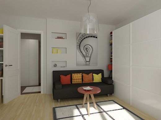 Гостиная в небольшой квартире-студии очень функциональна. Здесь имеется и спальное, и рабочее место. Гостиная – весьма комфортное место для сна, так как она удалена от кухни, диван с легкостью превращается в спальное место, есть телевизор, шкаф и большое панорамное окно.