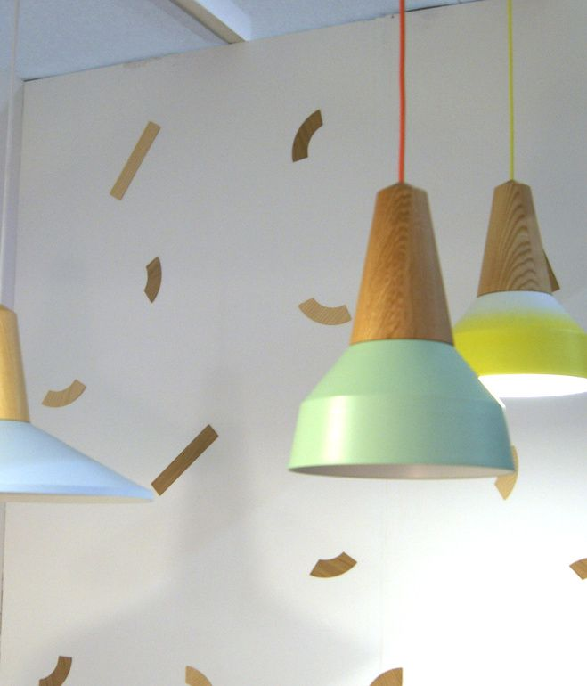 Key Trends From 2013 London Design Festival -  Stylish Stacks Colorful components were stacked together into modern totems to create one-of-a kind lighting, furniture and accessories. German designers Schneid presented the Eikon lamps, turned-ash pendants with interchangeable metal shades that are simply attached with magnets.