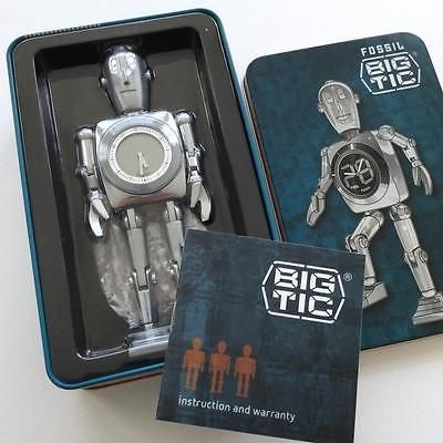 Fossil-Big-Tic-Metal-Retro-Robot-Display-Clock-6-New-Condition-with-Tin-Box