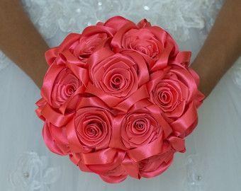 Ramo de Dama de honor, ramo de rosas, coral broche ramo, ramo de flores de Coral, ramo de novia, ramo de la boda de arte decoración de la boda, la boda.