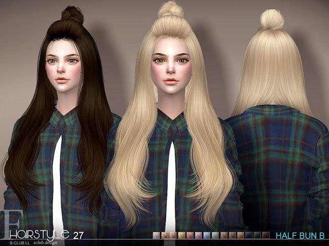 Sims 4 CC's - The Best: Hair Half Bun n27B by S-Club